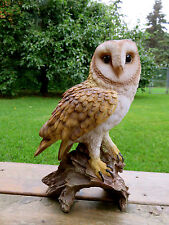 BARN  OWL FIGURINE ON TREE STUMP  HOOTER STATUE WISE OLD OWL RESIN 14 INCHES