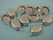 Silver Tone Oval Prong Settings 14x10 2 Rings closed Back - 12 Pieces