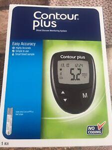Contour Plus Blood Glucose Meter + 5 test strips + 5 lancets + lancing device