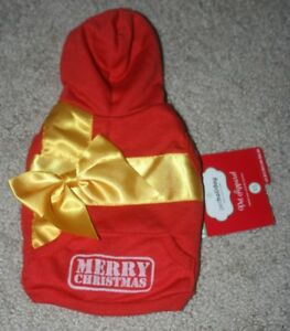 NEW Petco Holiday Pet Apparel Merry Christmas Hoodie Size XS Red w/Yellow Bow