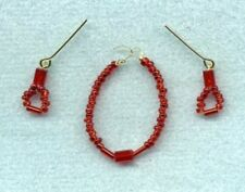 BARBIE DOLL JEWELRY - LONG RED SHINY GLASS BEAD NECKLACE & EARRINGS SET