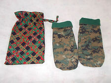 Handcrafted Reversible Fleece/Camo Mittens w/Christmas Gift Bag Child/Young Teen