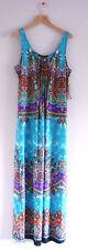 Glamour Maxi Dress sz 12 petite 12P NWT ret $80 Aqua Blue Multicolor Print