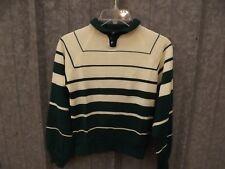 Sporty Stripes Vtg 1960s NEW Green White Thin Tight Acrylic Knit Sweater Sz 14