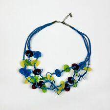 Knotted Shell Disc Lime/Turquoise Necklace