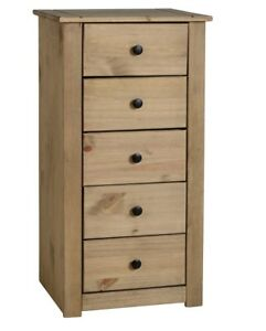 Panama 5 Drawer Narrow Tallboy Chest Storage Solid Natural Wax Pine Home/Bedroom