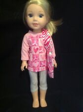"Wellie Wishers Pink Breast Cancer Top/Leggings/purse 14"" doll clothes outfit"