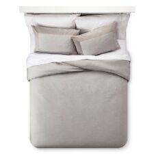 Fieldcrest Luxury Velvet Trim 3 Piece KING Comforter Sham Set Skyline Gray Grey