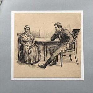 Poul Steffensen 1866-1923 Lady Man Biedermeier Chair Illustration Carit Etlar