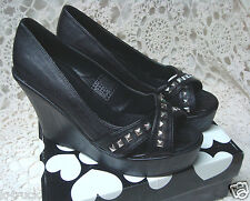 NIB - Hot Topic - t.u.k. - Black Opened-Toed Wedges w/ Studs - Shoes - Size 8
