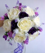 Brides Bouquet De Mariage, ivory mousse pivoines, purple & rose fleurs & lavande