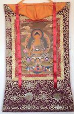 EARTHTOUCHING GOLD LEAF TIBET BUDDHA SILK FRAME THANGKA PAINTING #112225