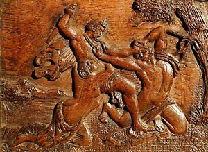 18thC Antique Carved Oak Panel of Paris rescued by Aphrodite from Menelaus @Troy