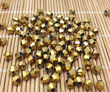 1000pcs gold exquisite Glass Crystal 3mm #5301 Bicone Beads loose beads@
