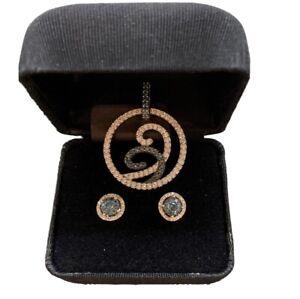 Exclusive 3pc Diamond 14k 10k White Gold Set Pendant Earrings Turquoise Blue