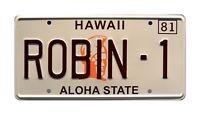 Magnum PI | Ferarri | Tom Selleck | ROBIN-1 | STAMPED Replica Prop License Plate