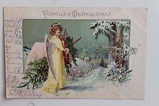 26512 Litho AK Fröhliche Weihnachten Schutzengel mit Weihnachtsbaum 1905