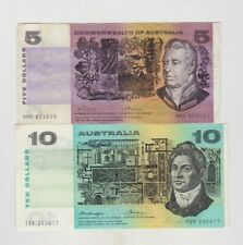More details for two australia p39c $5 & p45b $10 banknotes in very fine or better condition.