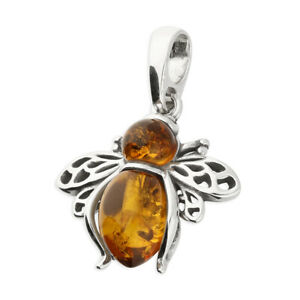 925 Sterling Silver Amber Bee Necklace Pendant