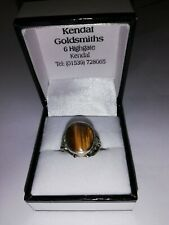 Tiger eye stone ring in silver setting, size P