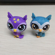 "2pcs 1"" Littlest Pet Shop LPS Purple Green Owl Birds Cute Figure Kids Girl Toy"