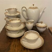 Vintage Crown Bavaria Germany Gold Porcelain Tea Coffee Service for 6 - Teapot++