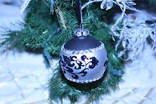 4 Black Christmas Tree Decorations Black Silver Ornament Silver Tree Decorations