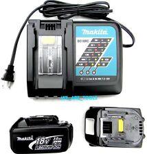 New Makita GENUINE (2) BL1830 18V Batteries, (1) DC18RC 18V Fast Charger 18 Volt