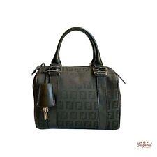 Authentic FENDI Black Zucca FF Pattern Canvas Leather Mini Boston Bag 8BL071