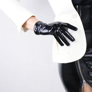 Shine Leather Faux Patent Leather Wrist Short Gloves Black Cosplay Gothic Latex