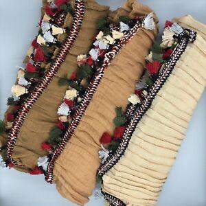 Plain Pleated Crinkle Tassel Scarf Hijab Sarong Large Cotton Shawl Wrap Maxi