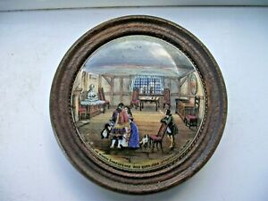 VICTORIAN PRATTWARE POT LID THE ROOM WHERE SHAKESPEARE WAS BORN WOODEN MOUNTED