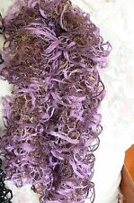 Frilly Hand Knitted Dbl Thick Scarf Gold Fluffy Purple Lavender Gold GLITZ 120cm