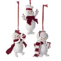 Kurt Adler Giggling Gentlemen Snowmen Cute Retro Christmas Ornaments Red White
