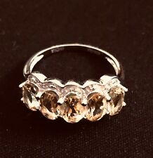 ANTIQUE GOLD PLATED RING WITH CITRINE DIAMONDS