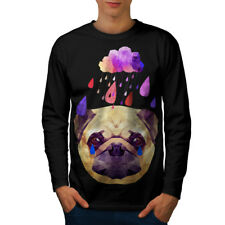 Wellcoda Pug Dog Rain Cool Funny Mens Long Sleeve T-shirt, Tear Graphic Design