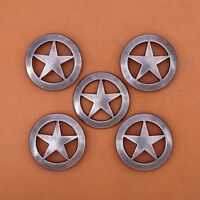 10PC 31MM VINTAGE SILVER WESTERN TEXAS STAR CONCHOS SCREWBACK FOR LEATHERCRAFT