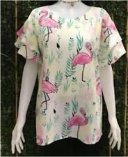 Plus Size Printed Blouse (RR) - Flamingo White