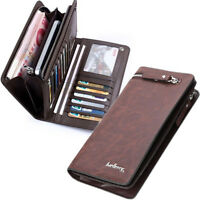 Men's Bifold Leather Zip Coin Handbag Multi Card Holder Purse Long Wallet Clutch