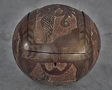 Antique 19th century Sailor Made Carved Coconut Jewel Box Nautical Maritime