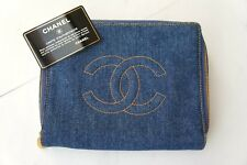 VINTAGE CHANEL Denim x CC Logo Jewelry Pouch Clutch Bag MINT! Rare to Find A626