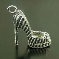2PCS 40x3mm Antiqued Silver Tone Alloy High Heel Shoes Charms Pendant 38625