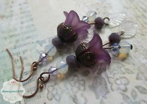Pretty Handmade purple Lucite lily flower earrings with moonstone & crystal #260