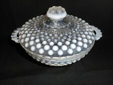 Fenton Vtg Hobnail Opalescent Moonstone Covered Candy Dish Bowl with Handles