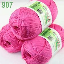 3 balls×50g Super Soft Natural Smooth Bamboo Cotton Yarn Knitting Hot Pink 907