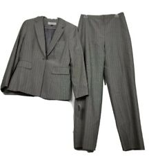 Tahari Womens 2 Piece Pant Suit Gray Yellow Stripe Long Sleeve Zipper 10 New