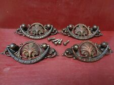 4 FABULOUS ANTIQUE EARLY HEAVY CAST BRASS CHEST DRAWER PULLS HANDLES #0