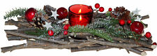 Red Berry Christmas Table Centre Piece Candle Tea Light Holder 32cm Decoration