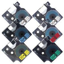 6 Pk Compatible DYMO D1 Label Cassette Label Makers 12mm 1/2'' 450 Standard 7m