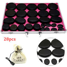 28Pc Black Body Massage Hot Stone Heater Bag Relieve Pain Spa Relax Heating Box